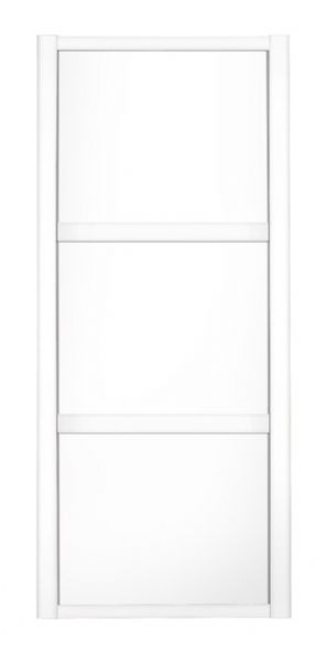 Shaker Sliding Wardrobe Door- WHITE FRAME - 3  WHITE PANELS